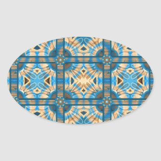 Blue and gold tiles oval sticker