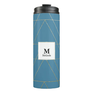 Blue and Gold Triangle Pattern Monogram Tumbler