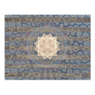 Blue and Gold Tribal Sun Leaf Pattern Striped Postcard