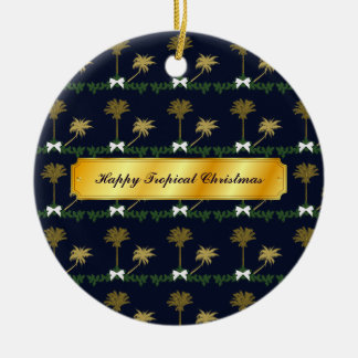 Blue and Gold Tropical Christmas with Palm Trees Christmas Ornament