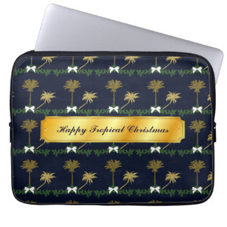 Blue and Gold Tropical Christmas with Palm Trees Laptop Sleeve