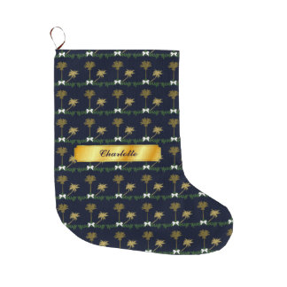 Blue and Gold Tropical Christmas with Palm Trees Large Christmas Stocking