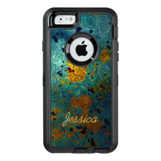 Blue and Gold Vine OtterBox Defender iPhone Case