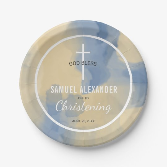 Blue and Gold Watercolor Baby Boy Christening Paper