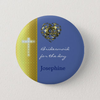Blue and Gold Wedding Cross 6 Cm Round Badge