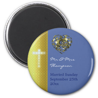 Blue and Gold Wedding Cross Magnet