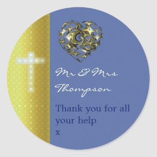 Blue and Gold Wedding Cross Thank You Classic Round Sticker