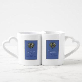 Blue and Gold Wedding Heart Coffee Mug Set
