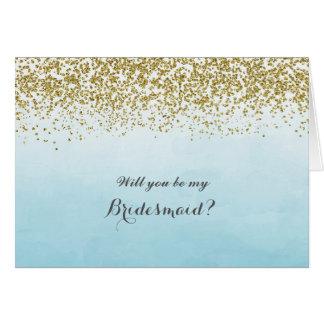 Blue and Gold Will You Be My Bridesmaid Card