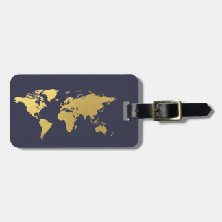 Blue and gold World map elegant Luggage Tag