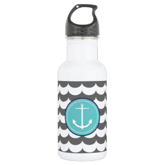Blue and Gray Anchor with Waves Pattern 532 Ml Water Bottle