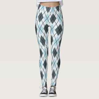 Blue and Gray Argyle Print Leggings