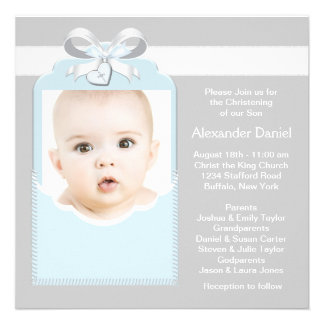 Blue and Gray Baby Boy Photo Christening Personalized Invite
