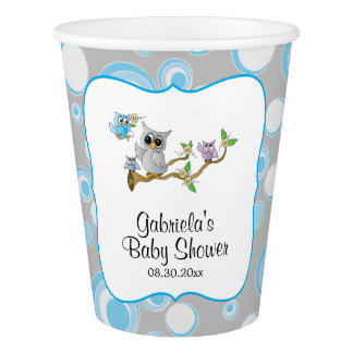 Blue and Gray Baby Owl Baby Shower Theme Paper Cup