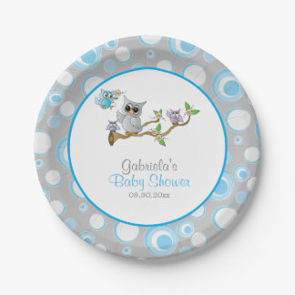 Blue and Gray Baby Owl Baby Shower Theme Paper Plate