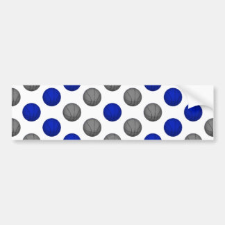Blue and Gray Basketball Pattern Bumper Sticker