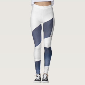 Blue and Gray Block Design Leggins Leggings
