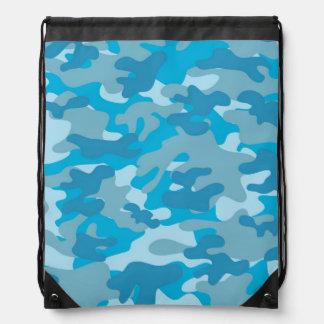 Blue and Gray Camo Design Drawstring Bag