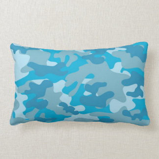 Blue and Gray Camo Design Lumbar Cushion