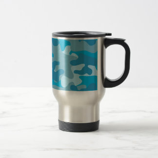 Blue and Gray Camo Design Stainless Steel Travel Mug