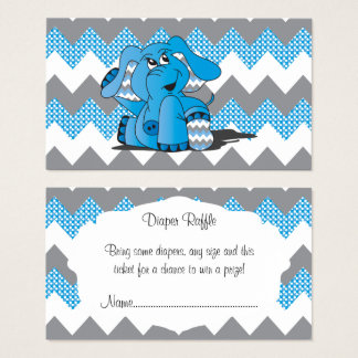 Blue and Gray Chevron Elephant Baby Diaper Raffle Business Card