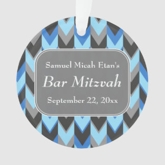 Blue and Gray Chevron Pattern Bar Mitzvah