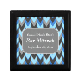 Blue and Gray Chevron Pattern Bar Mitzvah Small Square Gift Box