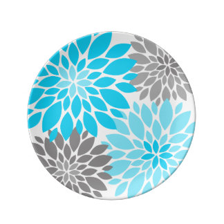 Blue and Gray Chrysanthemums Floral Pattern Plate
