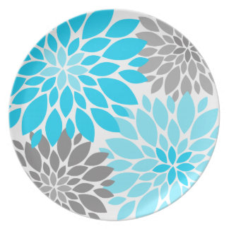 Blue and Gray Chrysanthemums Floral Pattern Plates