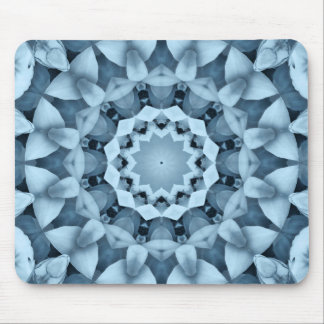 Blue and gray / grey, flower mandala mouse pad