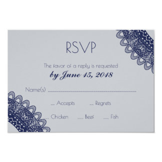 Blue and Gray Lace Wedding RSVP Card