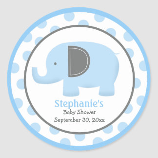 Blue and Gray Mod Elephant Round Sticker