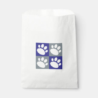 Blue and Gray Paw Print Checkerboard Doggie Bag