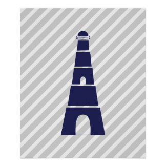Blue and Gray Striped Nautical Lighthouse Poster