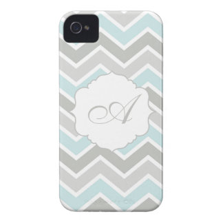 Blue and Gray Zigzag Chevron Monogram iPhone 4 Case