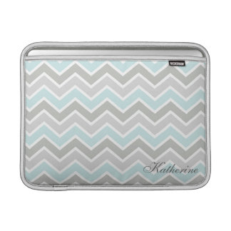 Blue and Gray Zigzag Chevron Monogram MacBook Sleeve