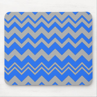 Blue and Gray ZigZag Chevron Mouse Pad