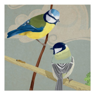 Blue and Great tit Poster