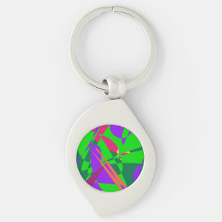 Blue and Green Abstract Composition Keychains