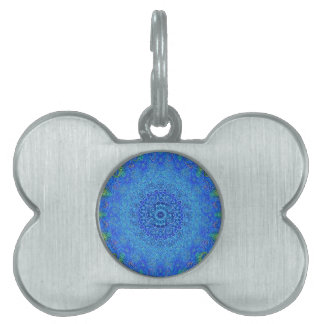 Blue and green abstract design pet tag