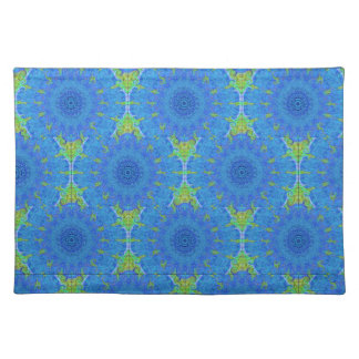 Blue and green abstract design placemat