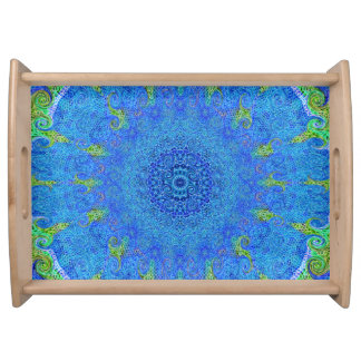 Blue and green abstract design serving tray