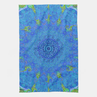 Blue and green abstract design towel