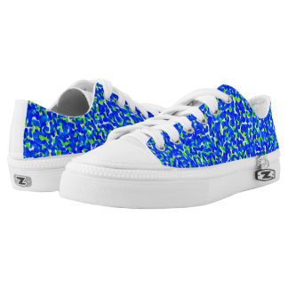Blue and Green Abstract Pattern Printed Shoes