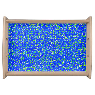 Blue and Green Abstract Pattern Serving Tray