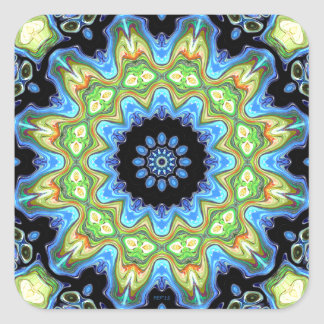 Blue And Green Abstract Square Sticker