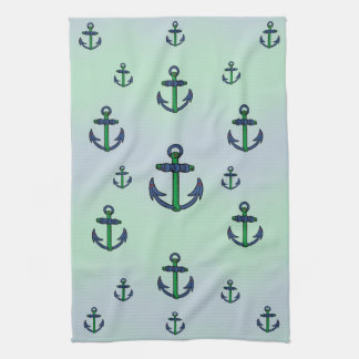Blue and Green Anchors baby burp cloth Hand Towel