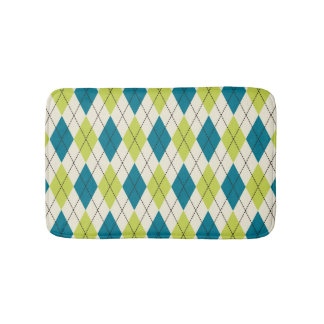 Blue And Green Argyle Bath Mat
