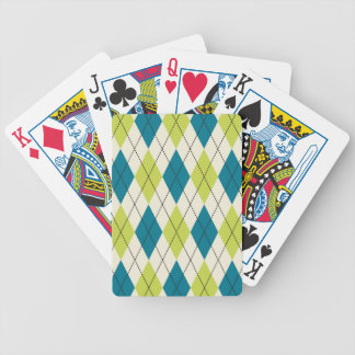 Blue And Green Argyle Bicycle Playing Cards
