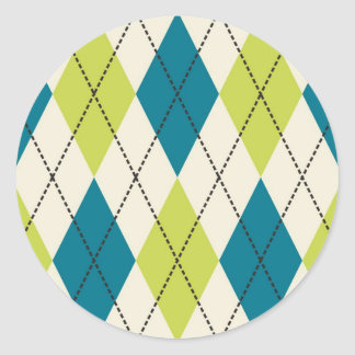 Blue And Green Argyle Classic Round Sticker